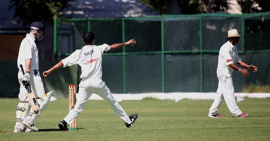 Captain Bhavesh Patel bowling